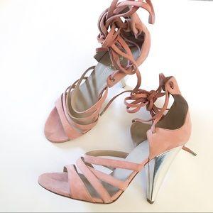Tamara Mellon Pink Suede Lace Up Sandals